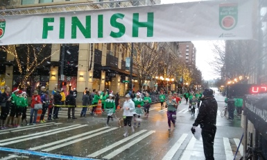Cold and wet at the finish line