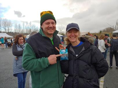 Chris and Sally Norred did the wet 5K, with Chris showing off Sally's medal for first in her age group